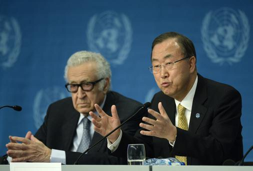 UN-Arab League envoy for Syria Lakhdar Brahimi (left) and UN Secretary General Ban Ki-Moon attend a press conference closing the so-called Geneva II peace talks