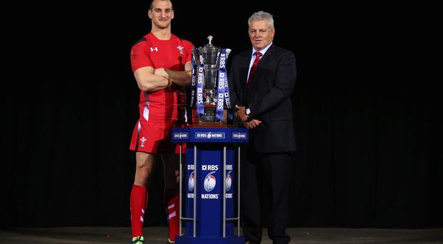 Sam Warburton of Wales and Head Coach Warren Gatland at the RBS Six Nations Launch at The Hurlingham Club in London