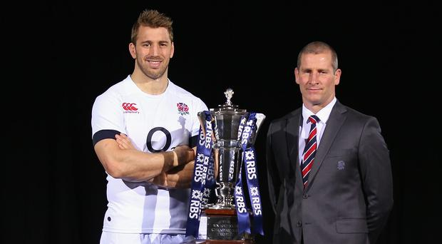 England's Chris Robshaw of and Head Coach Stuart Lancaster at the RBS Six Nations Launch in London yesterday