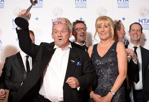 Brendan O'Carroll and Jennifer Gibney with the award for best Comedy at the 2014 National Television Awards at the O2 Arena, London.