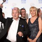 Brendan O'Carroll and Jennifer Gibney with the award for best Comedy at the 2014 National Television Awards.