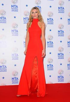 Abbey Clancy in the Press Room at the 2014 National Television Awards at the O2 Arena, London.