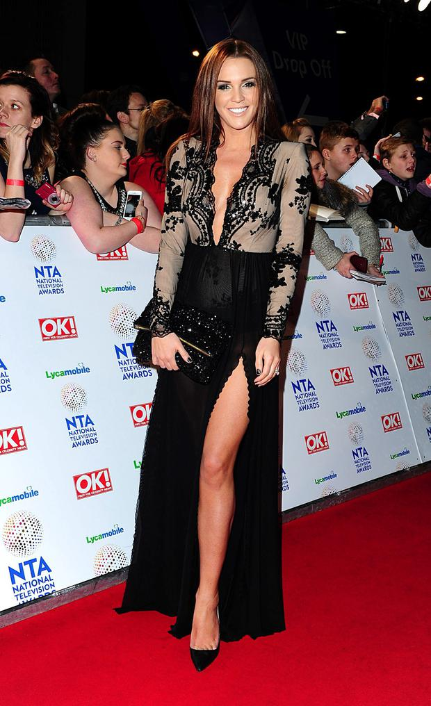 Danielle Lloyd arriving for the 2014 National Television Awards at the O2 Arena, London.