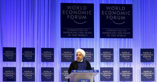 Iran's President Hassan Rouhani speaks during a session at the annual meeting of the World Economic Forum (WEF) in Davos January 23, 2014. REUTERS/Ruben Sprich (SWITZERLAND - Tags: POLITICS BUSINESS TPX IMAGES OF THE DAY)