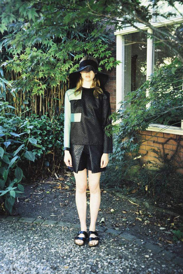 Silk top with silk-organza inserts and heat-seal-tape trim, €460; bonded-lace culottes, €428, both Danielle Romeril, to order. Bonded silk visor with lace insert and heat-seal-tape trim, €238, Danielle Romeril in collaboration with Laura Kinsella, Samui. Leather sandals, €69.99, Birkenstock