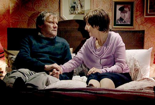 Hayley and Roy Cropper, played by Julie Hesmondhalgh and David Neilson. In one of the most talked about storylines in Coronation Street history, Hayley decided it was time to end her own life.
