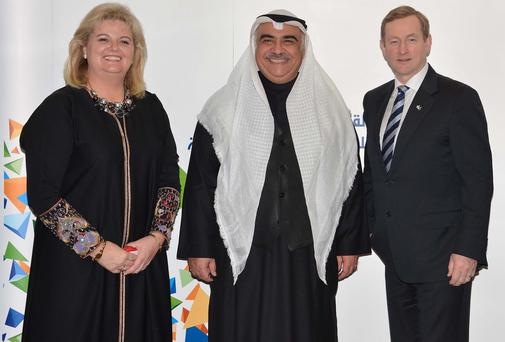 Rehab chief Angela Kerins with Saudi Arabia's Labour Minister Adel Fakeih and Taoiseach Enda Kenny
