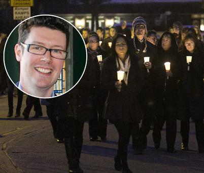 The candlelight vigil for Tom O'Gorman