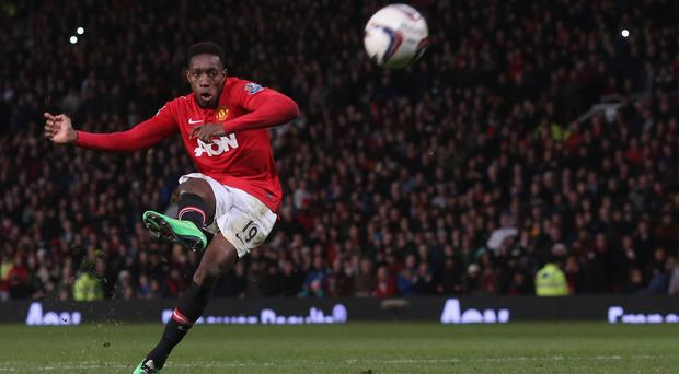 Manchester United's Danny Welbeck misses his penalty during the penalty shootout in the Capital One Cup semi-final
