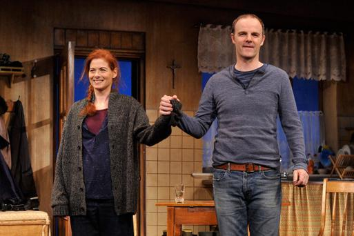Actors Debra Messing and Brian F. O'Byrne attend the curtain call for the