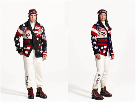 A combination photo shows Zach Parise (L) of the United States men's ice hockey team and Julie Chu, of the United States women's ice hockey team wearing the Official Opening Ceremony Parade Uniforms for the 2014 Winter Olympic Games in these photos released on January 23, 2014.