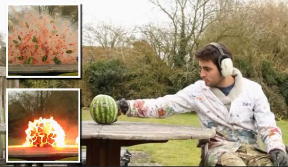 Watermelon explosion: Amazing video in super slow motion