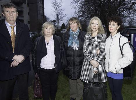 Mount Carmel staff & INMO reps (L to R) Philip McAnenly, Eileen Finn, Marian Hendrick, Patricia Kelly Maloney and Eleanor Byrne at Mount Carmel Hospital in Dublin where the directors of the hospital have applied to the High Court for the appointment of a liquidator. Photo: Gareth Chaney Collins