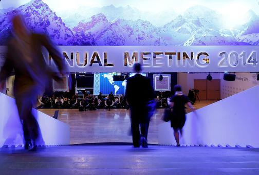 Participants take a break between sessions at the annual meeting of the World Economic Forum (WEF) in Davos