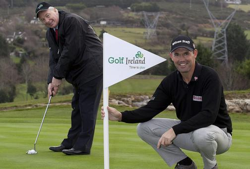 Padraig Harrington and Michael Ring, Minister of State of Tourism and Sport.