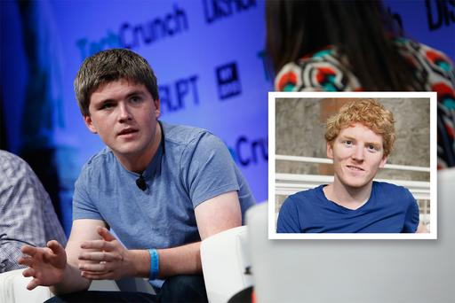 John Collison at TechCrunch Disrupt in New York. Inset: His brother, Patrick Collison. GETTY IMAGES/DECLAN MASTERSON