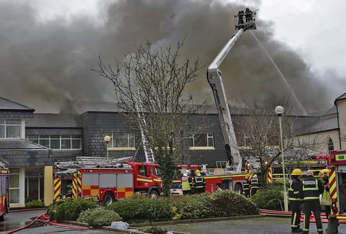 Waterford County Firefighters trying to bring the Fire at the Glanbia Headquarters in Dungarvan under control. Photo Sean Byrne//Deise Media