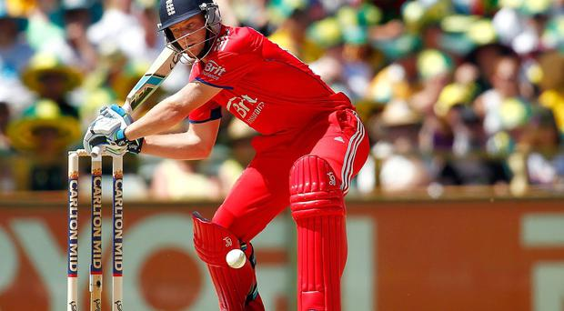 Jos Buttler of England bats during game four of the One Day International series between Australia and England