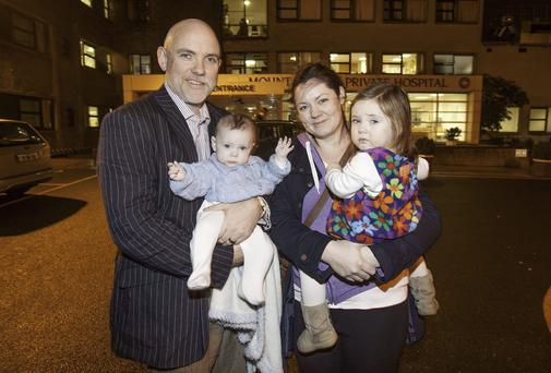 (L to r) Mark Watkin & Aoife Doyle with their children River (5 months) & Rain (2) Doyle Watkin