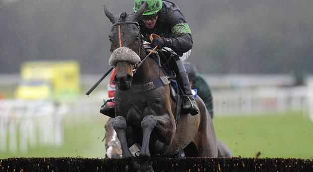 Jason Maguire riding Harry Topper clear the last to win The Bathwick Tyres Taunton Graduation Steeple Chase at Exeter