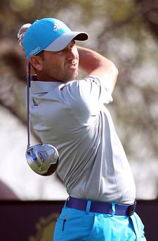 Sergio Garcia of Spain in action at the Commercial Bank Qatar Masters