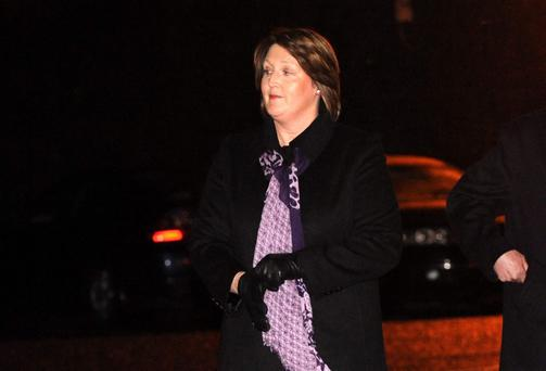 Caroline Donohoe arriving at first anniversary memorial service for her murdered husband Detective Garda Adrian Donohoe.