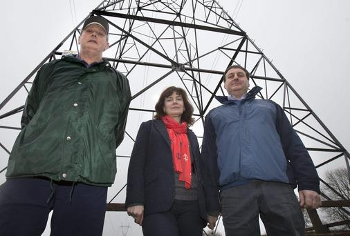 Anti pylon campaigners Paddy Lawler, Leslie and Gabrielle Hendy
