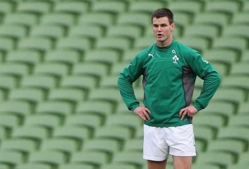 Jonathan Sexton of Ireland takes part in the Irish captain's run