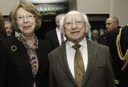 President of Ireland Michael D Higgins & Sabina Higgins arrive at The National Concert Hall ,Dublin.