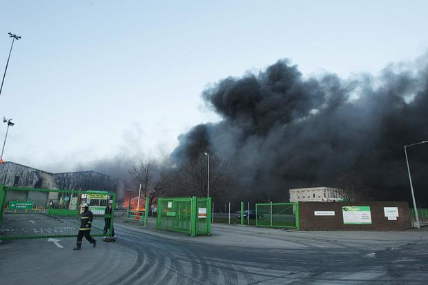 Dublin Fire Brigades attended a fire at Oxigen recycling plant on the Ballymount Road, Co Dublin this morning
