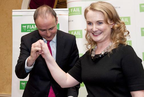 Fianna Fail party leader Micheal Martin congratulates newly selected candidate Mary Fitzpatrick at the official selection convention for the Dublin Constituency for the European Parliament Elections at the Clyde Court Hotel in Ballsbridge. Photo: El Keegan.