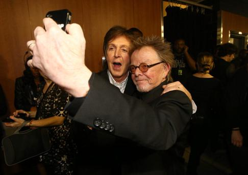 Musician Sir Paul McCartney and songwriter Paul Williams attend the 56th GRAMMY Awards at Staples Center on January 26, 2014 in Los Angeles, California. (Photo by Christopher Polk/Getty Images)LOS ANGELES, CA - JANUARY 26: attends the 56th GRAMMY Awards at Staples Center on January 26, 2014 in Los Angeles, California. (Photo by Christopher Polk/Getty Images)