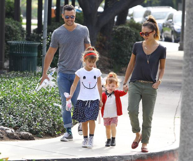 Jessica Alba and Cash Warren with daughters Haven Warren and Honor Warren are seen on January 25, 2014 in Los Angeles, California. (Photo by Bauer-Griffin/GC Images)