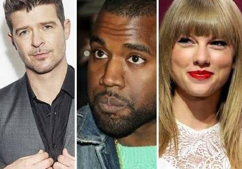 Robin Thicke, Kanye West and Taylor Swift all lost out at this year's Grammys.