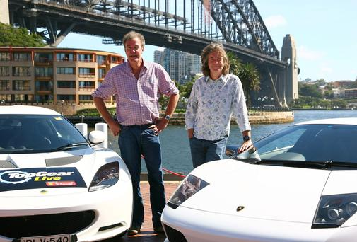 Presenters Jeremy Clarkson and James May from Top Gear