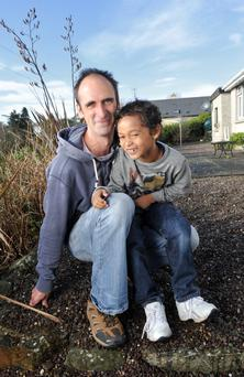 Richard Quarry' pictured with his son Ethan (7) in Kinsale, Co. Cork. Pic Daragh Mc Sweeney/Provision