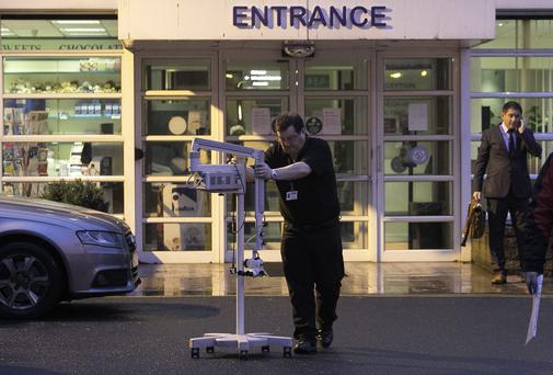 Medical machinery which is on loan being removed from Mount Carmel Hospital, Dublin where the directors of the hospital have applied to the High Court for the appointment of a liquidator. Photo: Gareth Chaney Collins