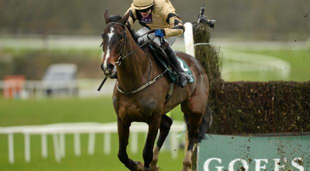 On His Own, with Paul Townend up, on their way to winning the Goffs Thyestes Handicap Steeplechase