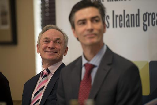 Minister for Jobs, Enterprise and Innovation Richard Bruton TD and Donal O'Sullivan, GM Tyco Ireland in Cork yest. at the announcement of 500 jobs, by Tyco. Picture: Michael Mac Sweeney/Provision