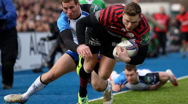 Chris Ashton of Saracens escapes a tackle from Connacht's Gavin Duffy