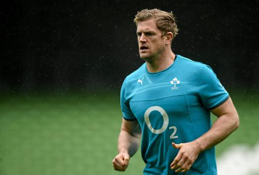 Ireland's Jamie Heaslip during squad training ahead of their opening RBS Six Nations Rugby Championship game against Scotland