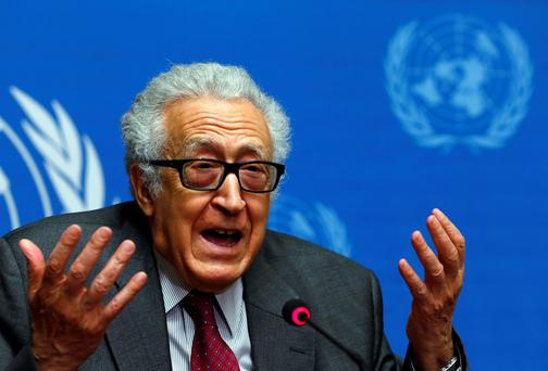 Syria Lakhdar Brahimi addresses a news conference at the United Nations European headquarters