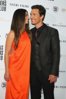 ROME, ITALY - JANUARY 27: (L-R) Camila Alves and actor Matthew McConaughey attend the 'Dallas Buyers Club' premiere at Cinema Barberini on January 27, 2014 in Rome, Italy. (Photo by Ernesto Ruscio/Getty Images)