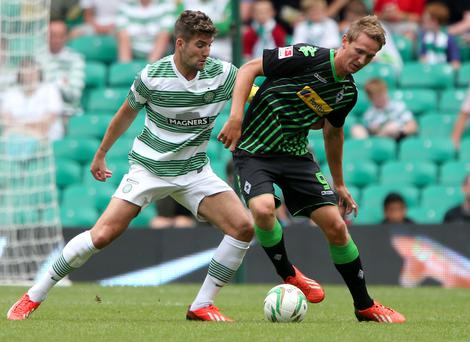 Borussia Monchengladbach's Luuk De Jong in action against Celtic