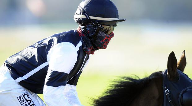 Jockey Adrian Nicholls covers his face to ride on the all weather surface at Lingfield racecourse on January 10, 2014 in Lingfield, England