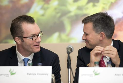 Greencore chief executive Patrick Coveney and chief financial officer Alan Williams at the AGM in Dublin