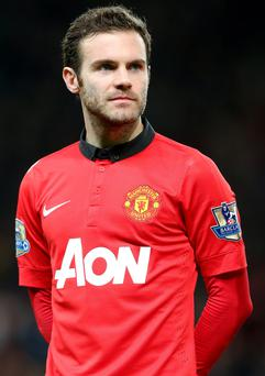 Manchester United's Juan Mata before the Barclays Premier League match at Old Trafford