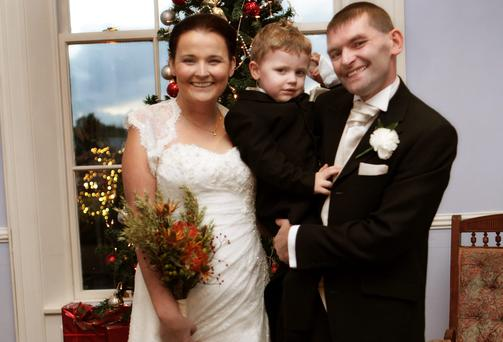 Roseann, her son JJ (3) and husband Justin Kennedy.