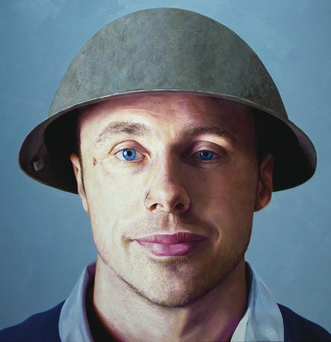 Tommy Bowe's wears an army helmet in Stephen Johnston's portrait