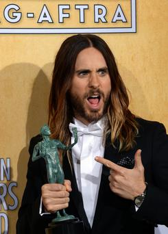 Jared Leto, winner of the Best Male Actor in a Supporting Role award at the SAG Awards